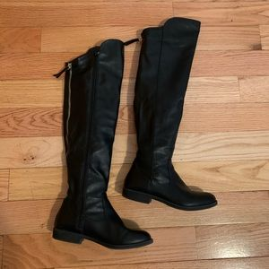 STYLE & CO Hayley Over The Knee Black Zip Boots